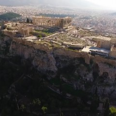 Aerial view of Acropolis & the Parthenon