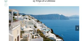 Santorini tops @ Travel + Leisure's 25 Trips of a Lifetime