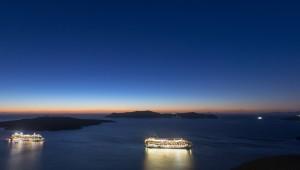 Santorini cruise ship in the caldera