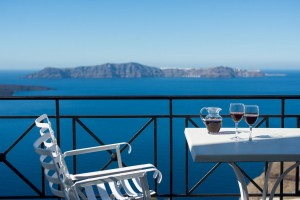 Santorini wine and caldera view