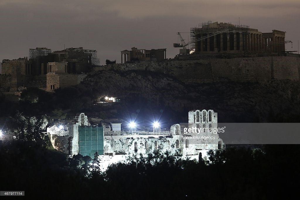 Acropolis seen in the dark