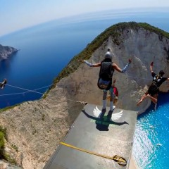 Base and rope jump @ Navagio beach Zakynthos