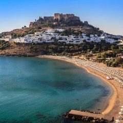 Lindos Village Rhodes Greece by drone
